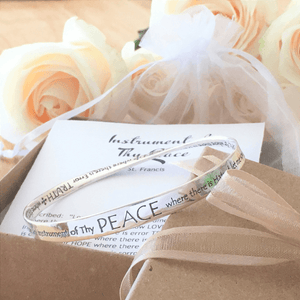 St. Francis' Prayer Peace Mobius Bangle Bracelet | Sterling Silver or 14k Gold