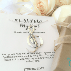 It Is Well With My Soul Sterling Silver G Clef Necklace