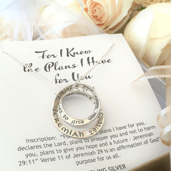 Jeremiah 29:11 Sterling Silver Double Mobius Twist Necklace