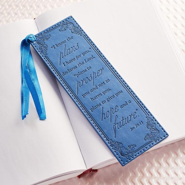 Jeremiah 29:11 LuxLeather Christian Bookmark | Blue