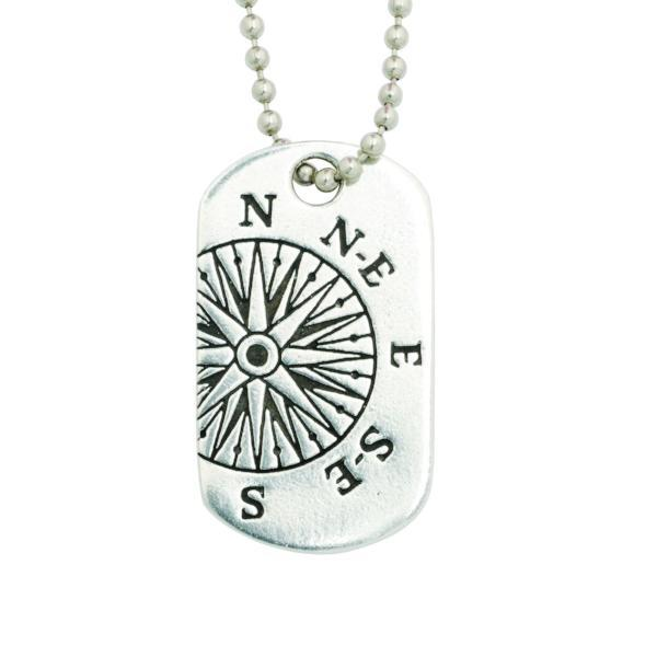 Fine Pewter Dog Tag Necklace | Jeremiah 29:11 Compass
