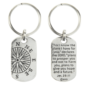 Fine Pewter Christian Keychain | Jeremiah 29:11 Compass