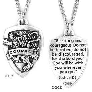 Fine Pewter Scripture Verse Necklace | Courage Shield | Joshua 1:9