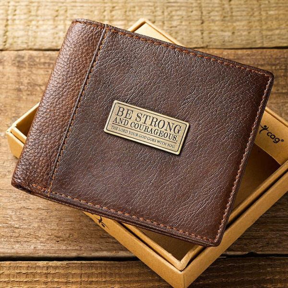 "Two-Tone Genuine Leather Scripture Verse Wallet | Joshua 1:9 ""Be Strong and Courageous"""
