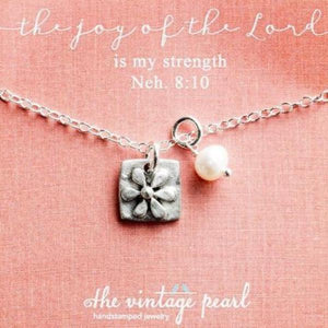 The Joy of the Lord is My Strength Fine Pewter Necklace | The Vintage Pearl