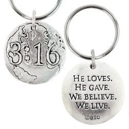 Pewter Faith-Based Keychain - John 3:16