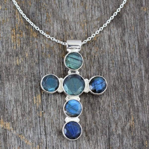 Handcrafted Labradorite and Sterling Silver Cross Necklace