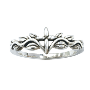 Sterling Silver Ladies' Christian Ring | Sculpted Cross and Vines