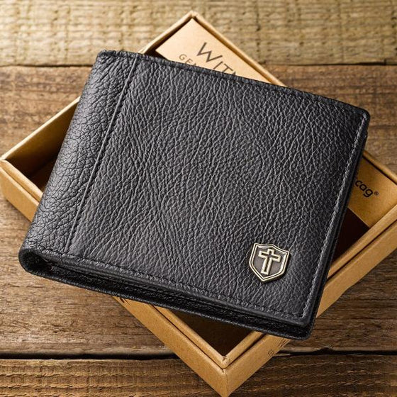 Black Genuine Leather Men's Wallet with Cross Shield