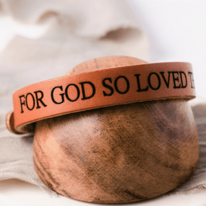 Genuine Leather Engraved Scripture Verse Bracelets | Bold Stud Style