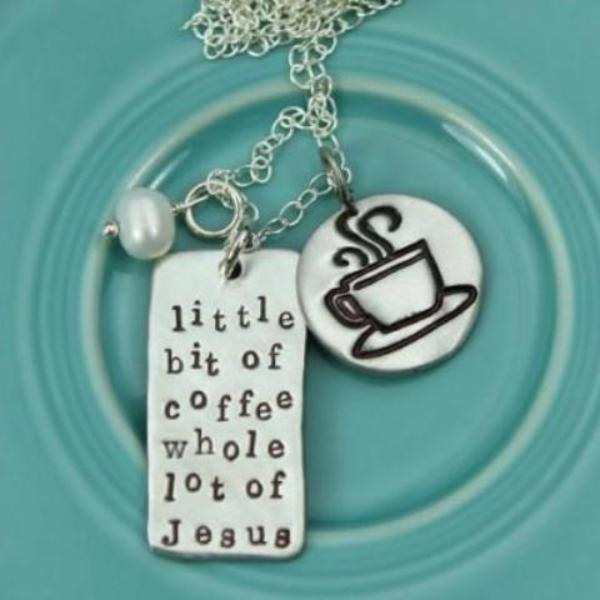 The Vintage Pearl Hand-Stamped Necklace | Little Bit of Coffee, Whole Lot of Jesus