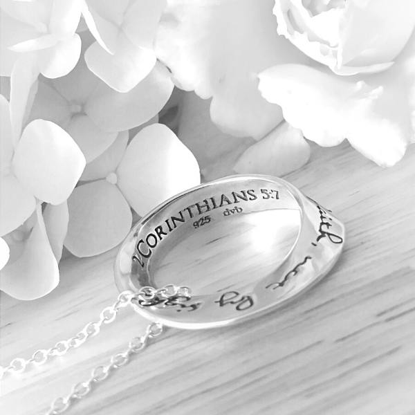 Sterling Silver Mobius Twist Pendant Necklace | Live By Faith Not By Sight | 2 Corinthians 5:7