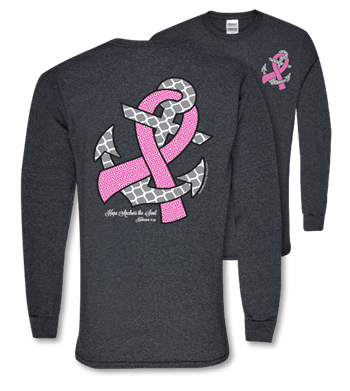 Southern Couture Long Sleeve Christian T-Shirt | Breast Cancer Awareness Tee | Hope Anchors the Soul | Hebrews 6:19