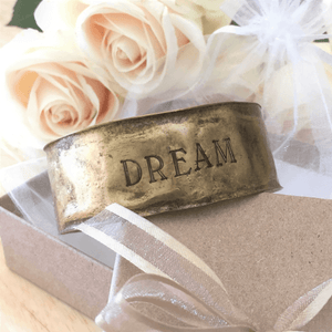 Antiqued Brass Hand-Stamped Inspirational Cuff Bracelets
