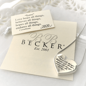 Love Bears All Things Sterling Silver Heart Pendant Necklace | BB Becker | 1 Corinthians 13:7