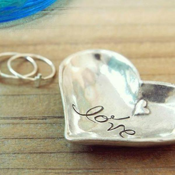 Heart Shaped Fine Pewter Ring Dish | Love