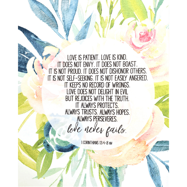 Love is Patient Bible Verse Watercolor Art Print | 1 Corinthians 13:4-8