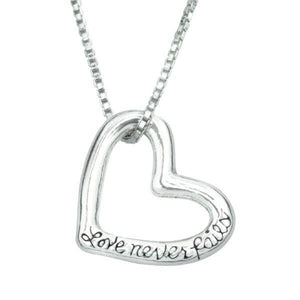 Sterling Silver Scripture Verse Necklace | Love Never Fails