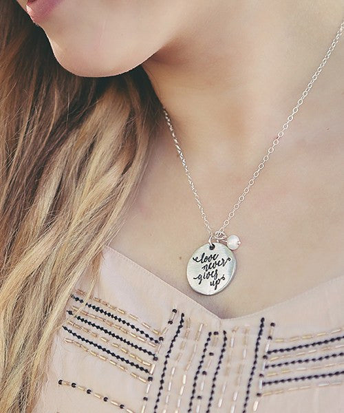 The Vintage Pearl Scripture Verse Necklace | Love Never Gives Up