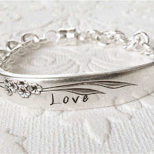 """Love"" Handcrafted Vintage Spoon Bracelet"