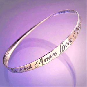 Love in Twenty Eight Languages Mobius Bangle Bracelet | Sterling Silver or 14k Gold