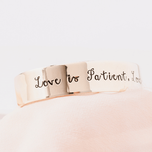 1 Corinthians 13 Gold Brass Cuff Bracelet | Love is patient...