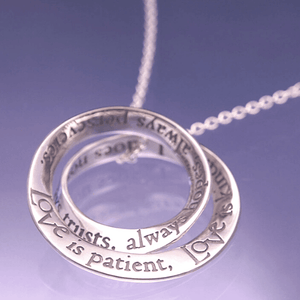 Love is Patient Sterling Silver Double Mobius Twist Necklace | 1 Corinthians 13