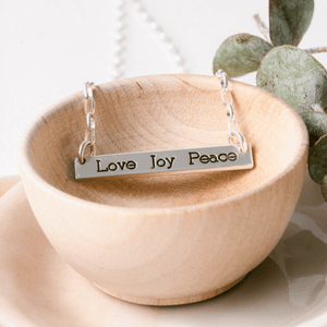 Sterling Silver Love Joy Peace Horizontal Bar Pendant Necklace