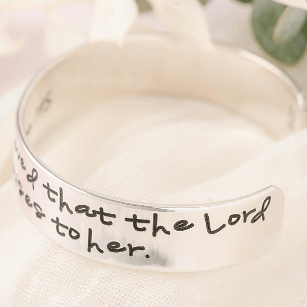 "Blessed is She Who Has Believed Sterling Silver Hand-Stamped Cuff Bracelet | 1/2"" width"