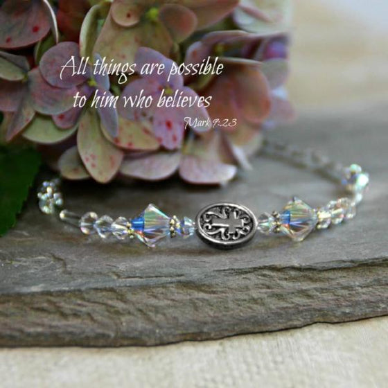 Swarovski Crystal Scripture Verse Bracelet | All Things Are Possible | Mark 9:23