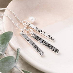 Sterling Silver Blessing Bar Necklace | With God All Things Are Possible
