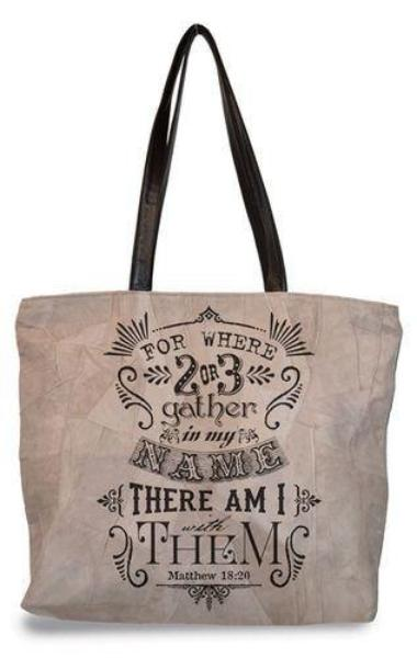 Divinity Boutique Suede Scripture Verse Tote Bag | Matthew 18:20