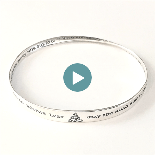 May the Road Rise to Meet You Irish Blessing Mobius Bangle Bracelet | Sterling Silver or 14k Gold
