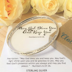 May God Bless You and Keep You Sterling Silver Mobius Bangle Bracelet | Numbers 6:24-26