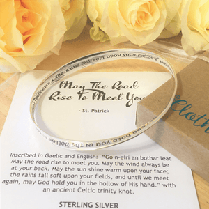 May the Road Rise to Meet You Sterling Silver Irish Blessing Mobius Bangle Bracelet
