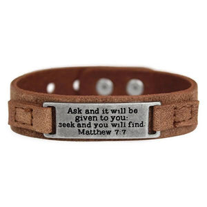 Genuine Leather Men's Scripture Verse Bracelets | Choose Your Verse