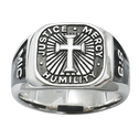Sterling Silver Men's Micah 6:8 Cross Signet Ring