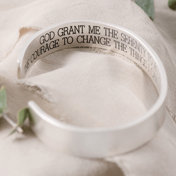 Men's Sterling Silver Engraved Heavy Cuff Bracelet | Serenity Prayer