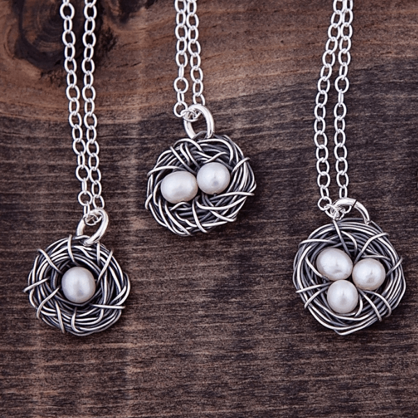 Sterling Silver Bird's Nest Necklace with Pearl Eggs | The Vintage Pearl