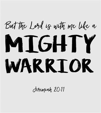 Southern Couture Christian T-Shirt | Mighty Warrior | Jeremiah 20:11 | Raglan 3/4 Sleeve