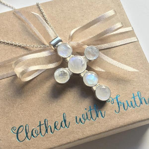 Rainbow Moonstone Sterling Silver Cross Pendant Necklace