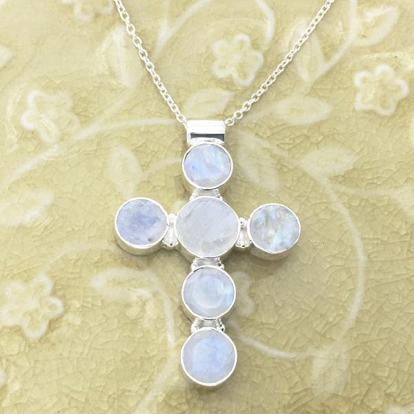 Handcrafted Rainbow Moonstone and Sterling Silver Cross Necklace
