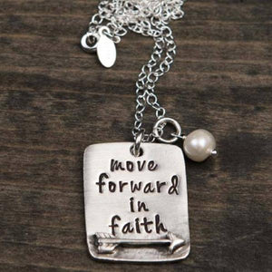 The Vintage Pearl Hand-Stamped Necklace | Move Forward in Faith