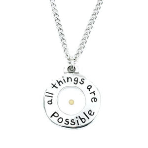 Fine Pewter Mustard Seed Necklace | All Things Are Possible