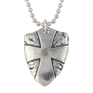 Fine Pewter Mustard Seed Shield Necklace | Matthew 17:20