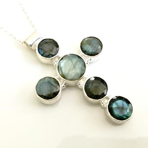 Labradorite and Sterling Silver Cross Necklace
