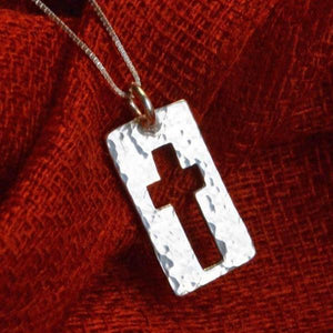 Narrow Road Sterling Silver Cross Necklace | Matthew 7:14