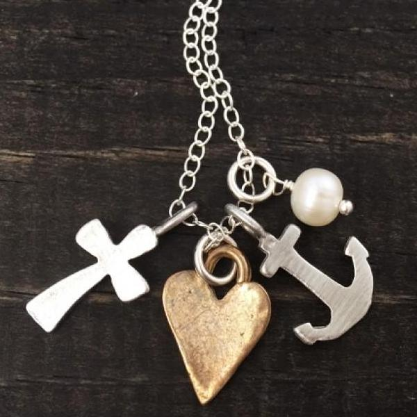 Faith, Hope, Love Fine Pewter Charm Necklace | The Vintage Pearl