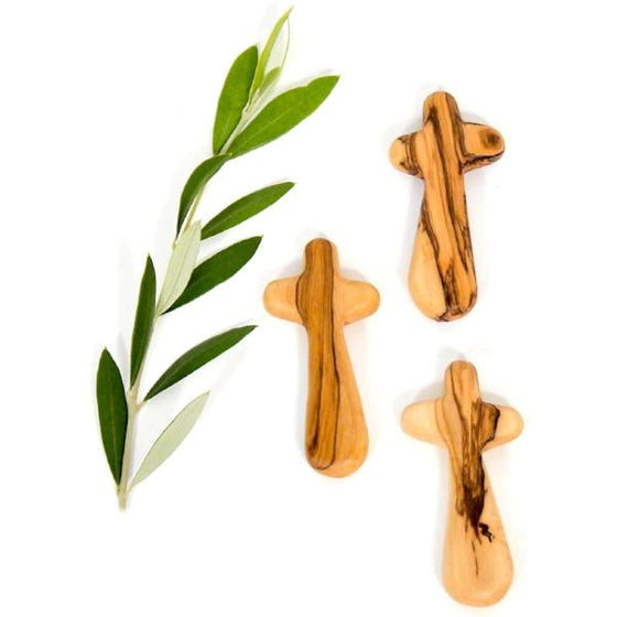 Large Hand-Carved Olive Wood Comfort/Holding Crosses from Bethlehem
