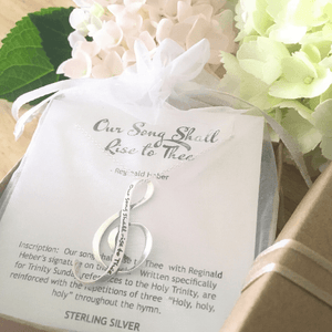 Sterling Silver G Clef Pendant Necklace | Our Song Shall Rise to Thee
